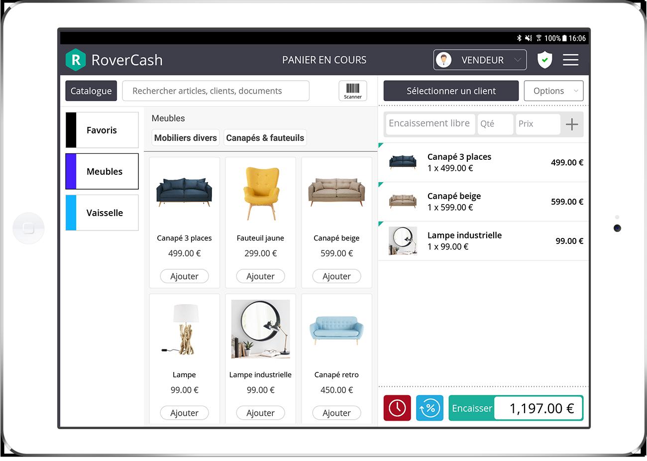 RoverCash es una aplicacion de caja que te permite efectuar tus ventas y facturaciones