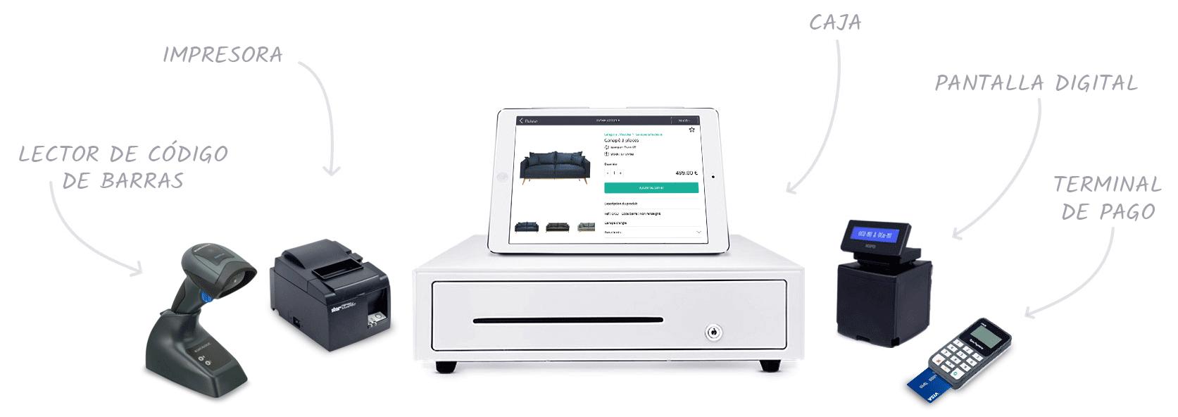 El software de la caja registradora RoverCash es compatible con muchos dispositivos de caja.