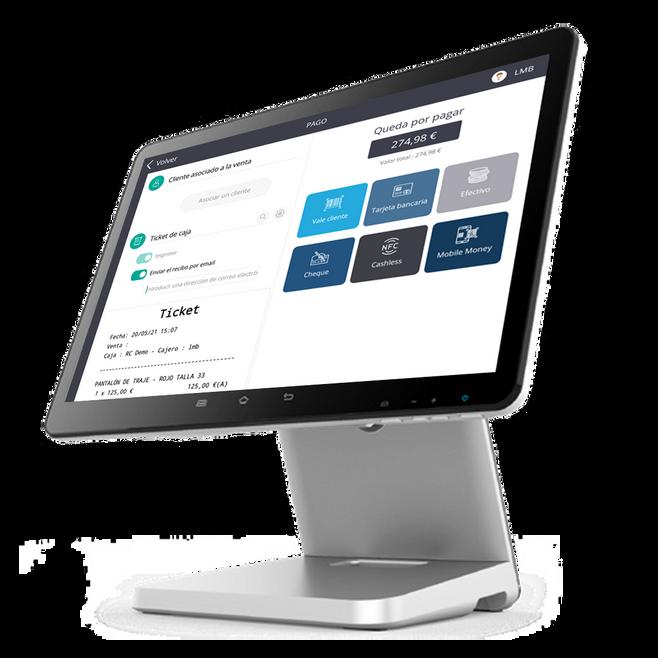 La interfaz de cobro de la aplicación de caja registradora RoverCash.