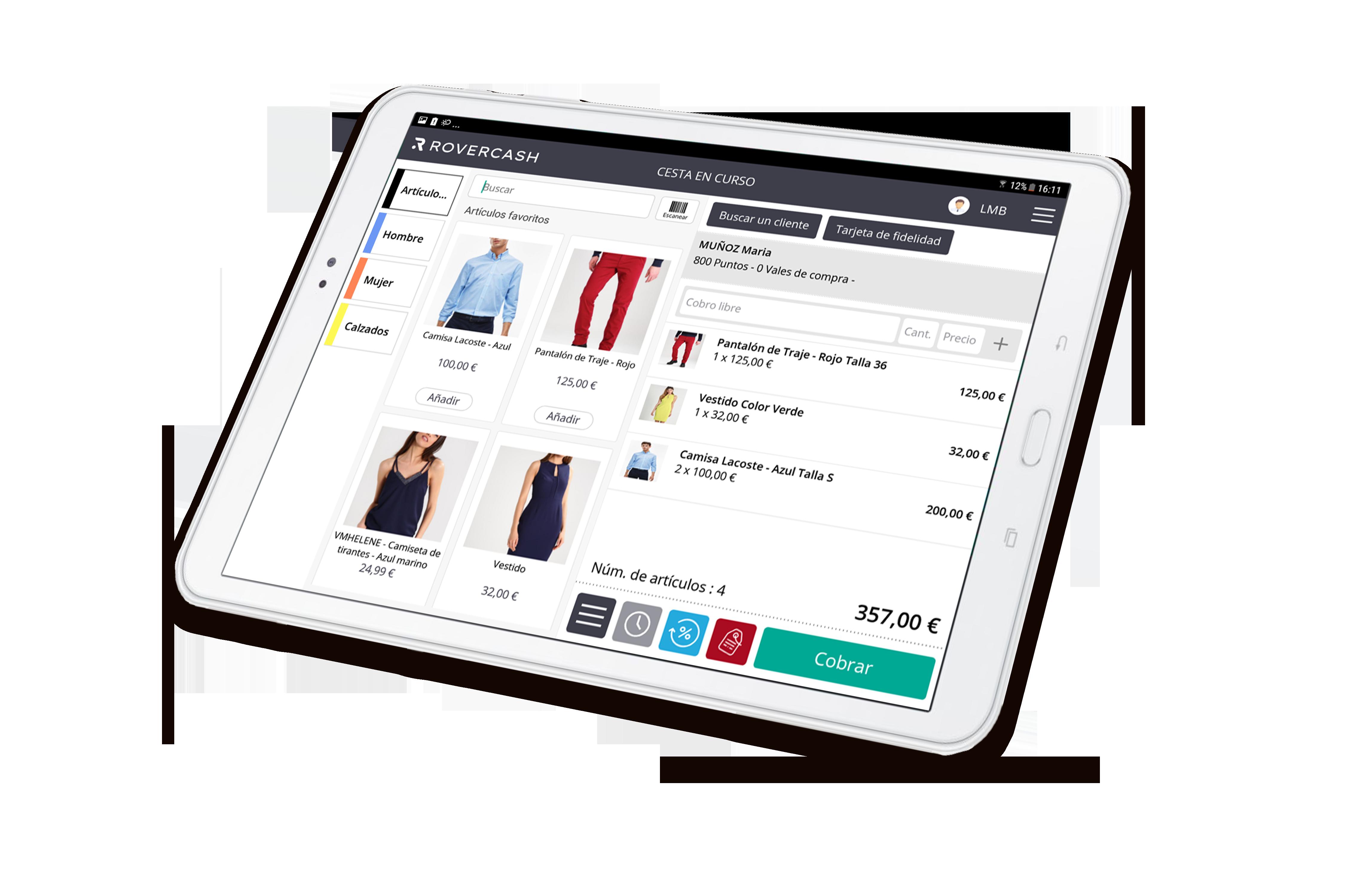 La aplicación de caja registradora que le permite vender productos en una tableta.